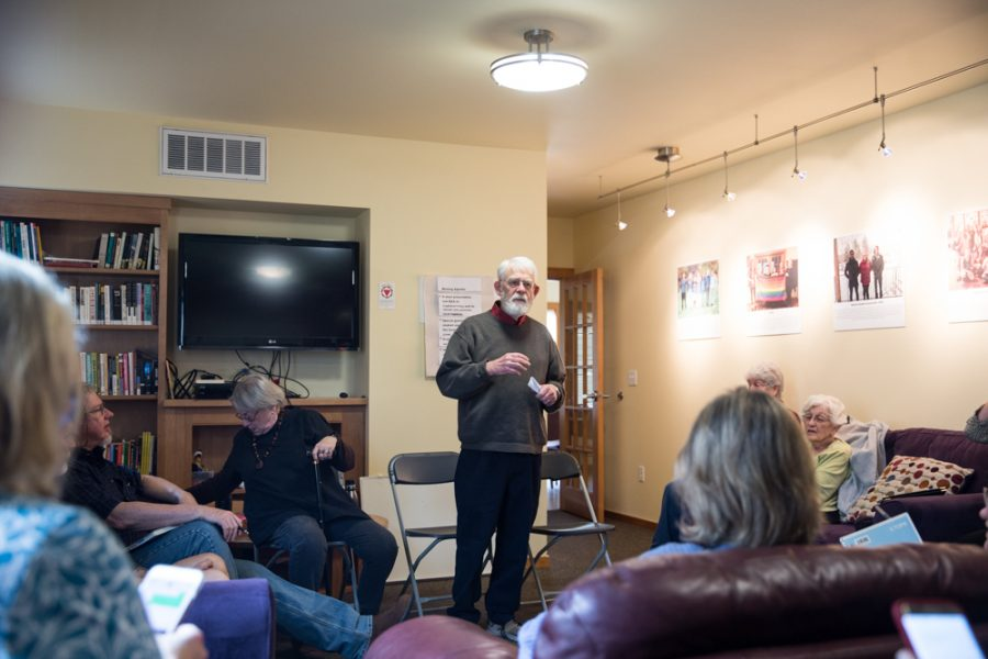 Norm Osterman 65 speaks about Bitcoin at the Walla Walla Progressives meeting on Saturday, April 14. In the meeting the group re-capped the decision made by the Port of Walla Walla to allow a Bitcoin operation move into another county. The Walla Walla Progressives meet once a month, sometimes in the GAC, as was the case on Saturday.
