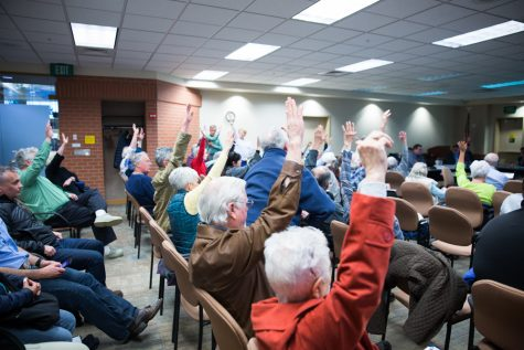 At the Port of Walla Walla meeting last Thursday, a community member solicited an informal poll for those gains leasing Walla Walla land to a Bitcoin company. Those with hands raised expressed their objection to the land lease, which was later passed unanimously by the Port.