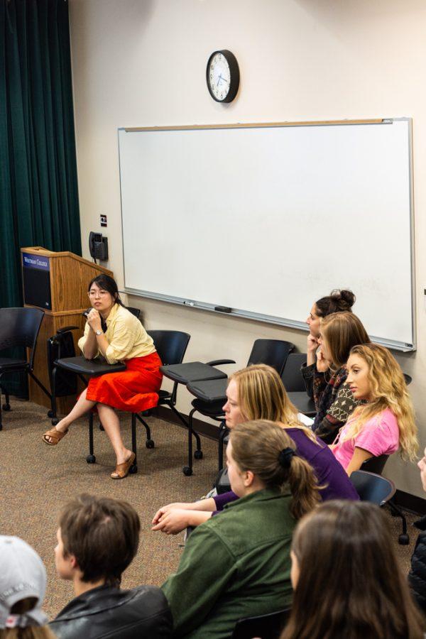 Caitlyn Yoshina, class of 2014, teaches a mock lesson