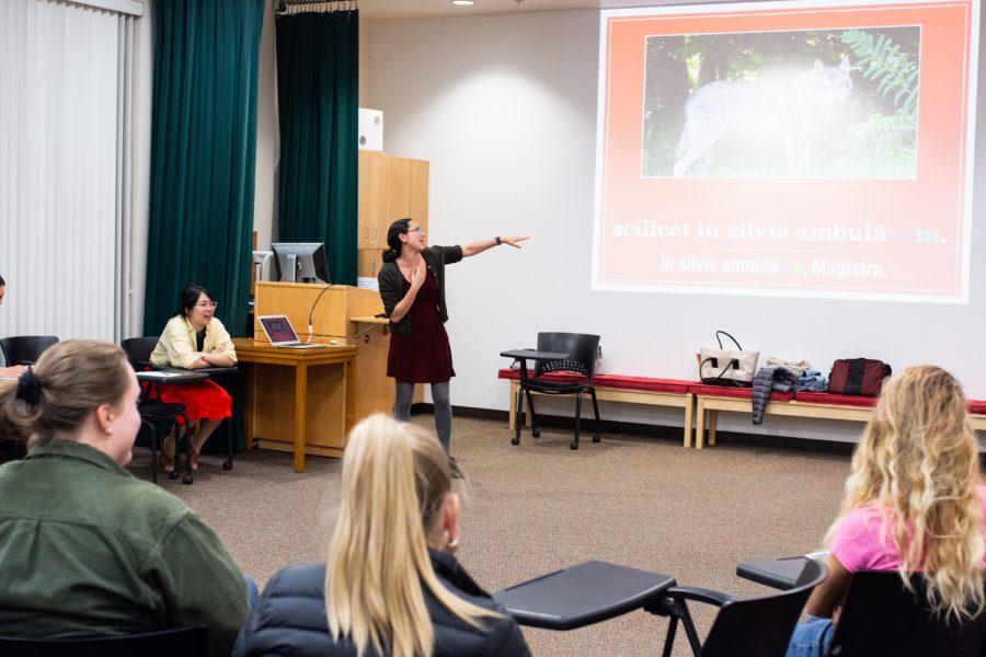 Mariah Lapiroff, class of 2013, teaches a mock Latin class