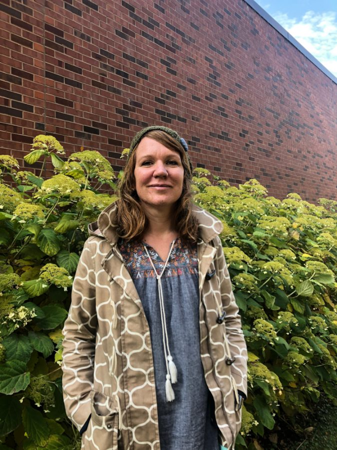 Visiting Professor Eva Hoffmann poses with the Walla Walla autumn. Hoffmann began working at Whitman in the fall of 2017.