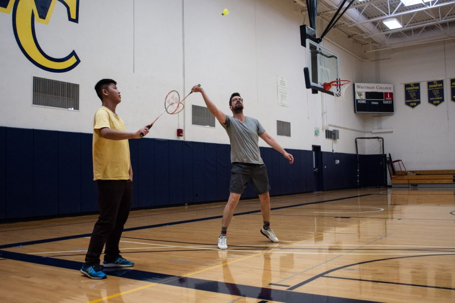 Members of the Whitman Badminton Club practicing during a recent meeting.
