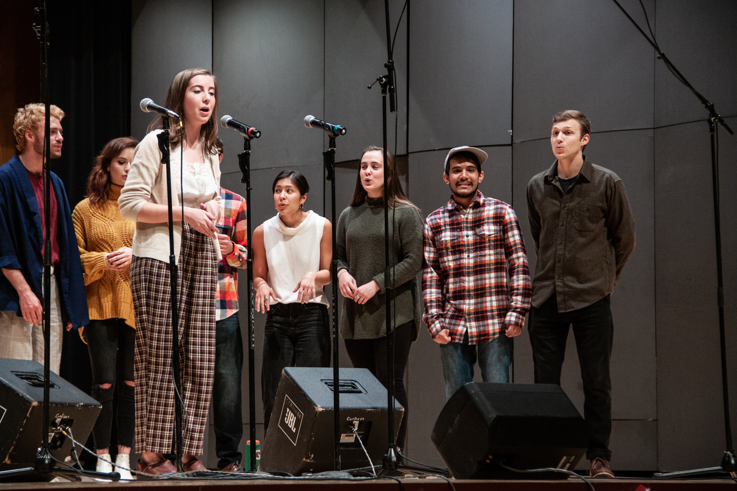 Whitman mixed-gender a cappella group Schwa was one of several groups performing at the Speakeasy Concert.