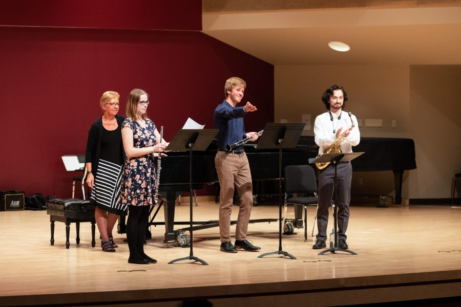 Thomas Meinen and Take Olds perform with the wind ensemble in the Fall Composers Concert on Sunday, Oct. 14.