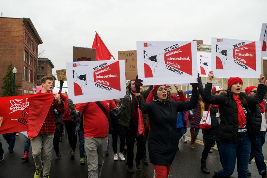 The Walla Walla chapter of the Democratic Socialists of America carried signs calling for a feminism that is anti-racist, intersectional, and socialist.