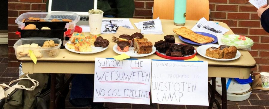 Students hosted a bake sale in front of Reid Campus Center and Cleveland Commons in support of Wet'suwet'en people. They raised $430 dollars. Photos contributed by Anna Silberman.