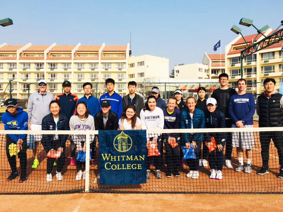 The womens tennis team interacted with local schools as part of a cultural exchange during their spring break trip to China. Photos contributed by Andrea Gu