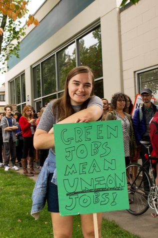 Avery Le- Clair '21 pauses for a photo while marching in the climate strike