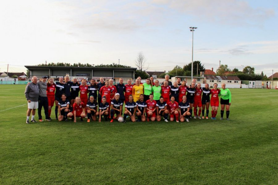 The+women%E2%80%99s+team+poses+with+Frome+Town+FC%2C+an+English+football+club%2C+after+their+match.+Photo+contributed+by+Whitman+Athletics.+