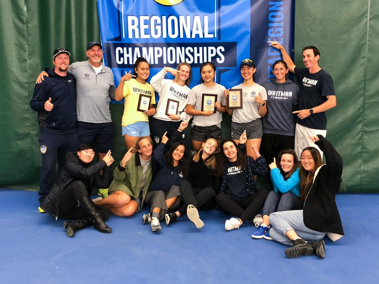 Whitman's women's tennis team celebrates a successful run in the ITA Fall Regional Championships. Photo contributed by Andrea Gu