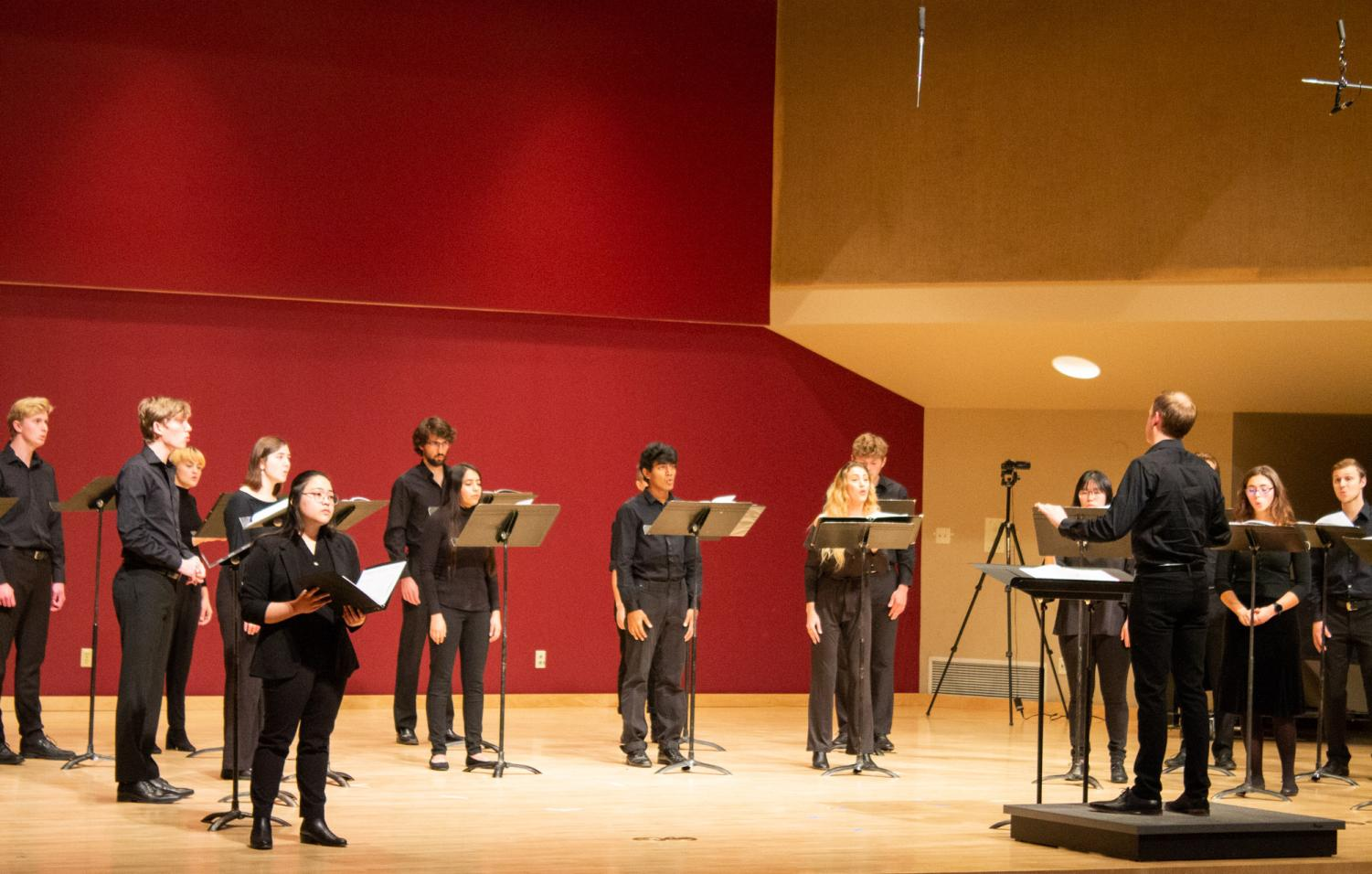 Whitman Chamber Singers, directed by Assistant Professor of Music Miles Canaday, perform a variety of pieces from throughout history.