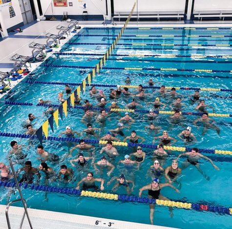 "Whitman students and Walla Walla community members participate in ""Hour of Power,"" a swim relay race that raised awareness and money for the Ted Mullin Fund for Pediatric Sarcoma Research. Photo contributed by Whitman Athletics."