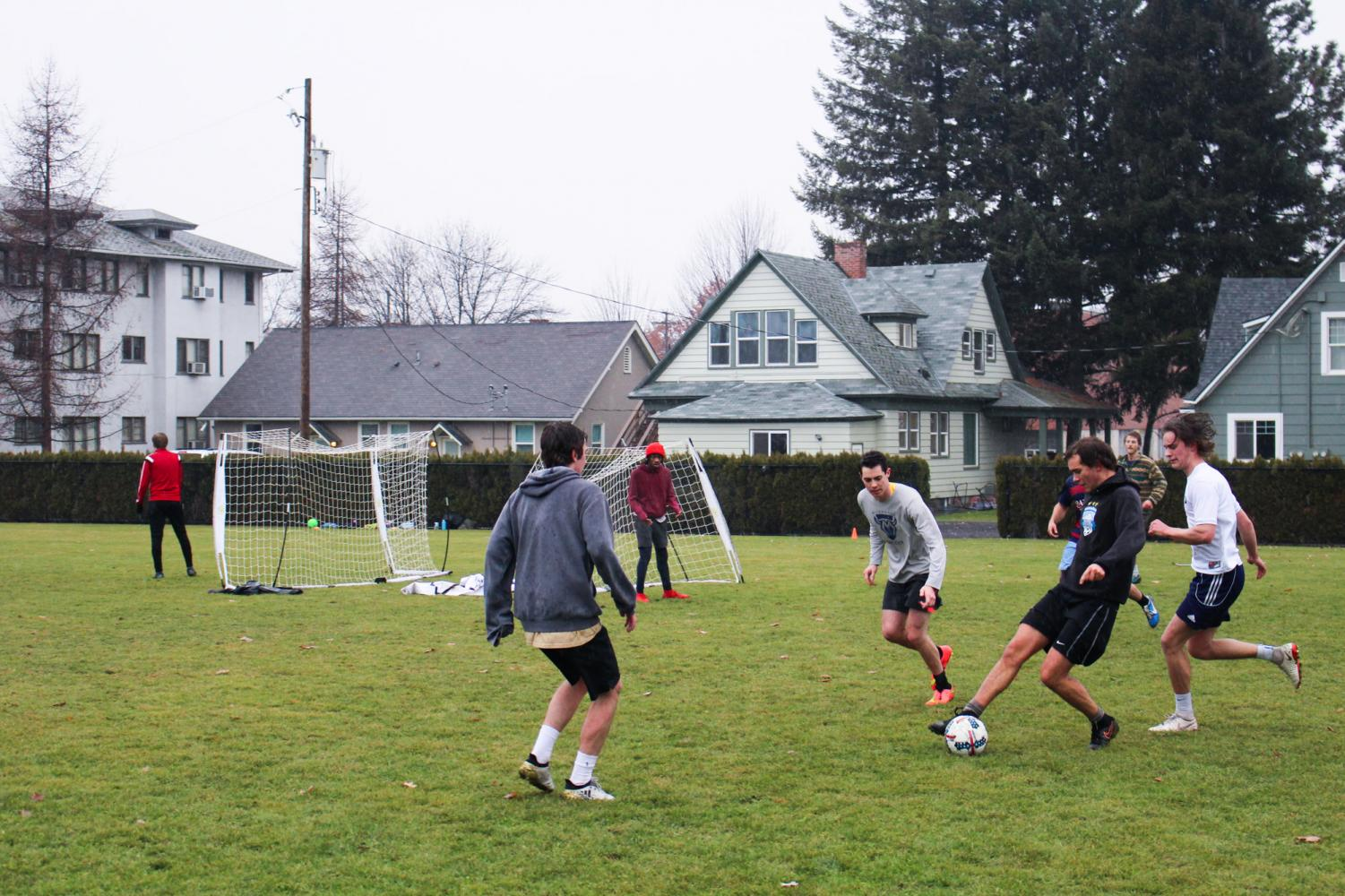 Students enjoy an afternoon game of IM soccer on Harper Joy Field.