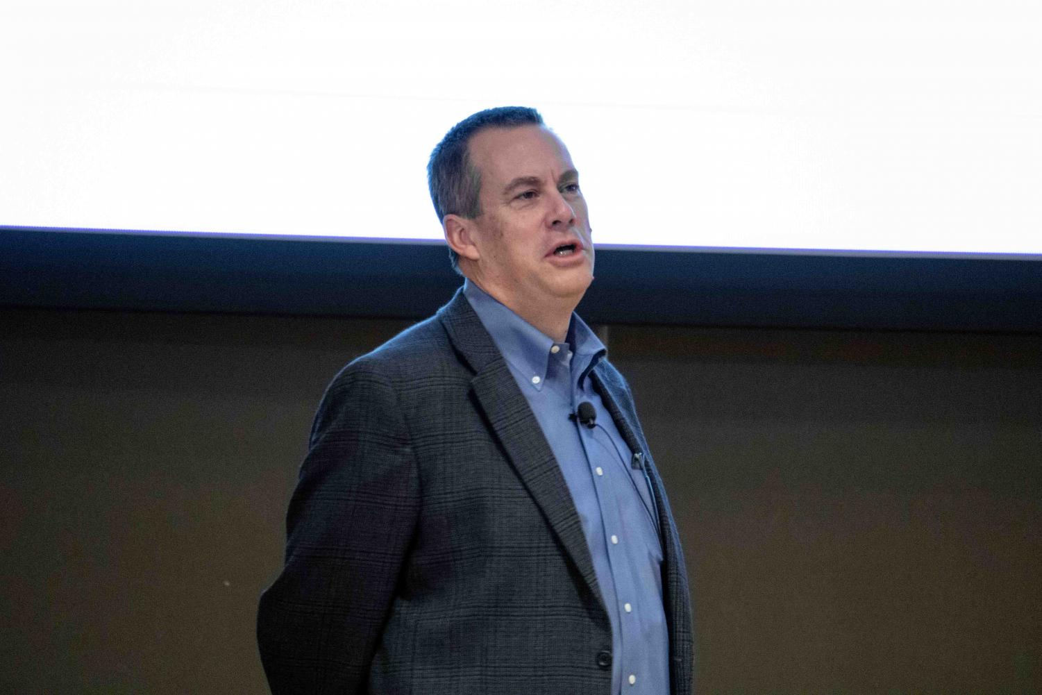 Bill Drake, the Assistant Athletic Director of Athletics and Student Athlete Wellness at Gonzaga Universtiy, delivered a talk on mental health on Monday, Jan 27. Photo by Amara Garibyan