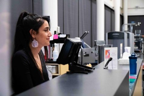 Sophomore Fadia Chehadeh enjoys the connections and relationships she gains working on campus. Photos by Beej Haas