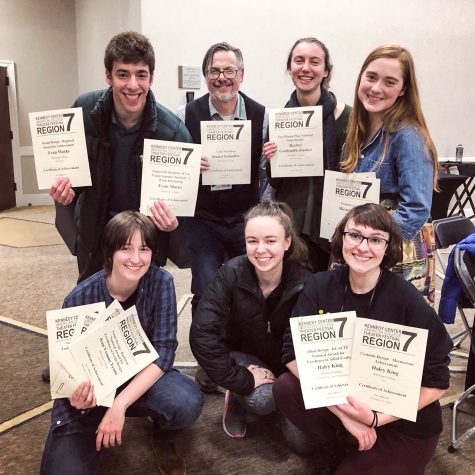 Senior Evan Marks, Associate Professor of Theatre Daniel Schindler, sophomore Rachael Goldsmith Zucker, senior Miranda LaFond, junior Jay Tyson, sophomore Alyx Kruger and senior Haley King pose with their theatre awards from the festival. Photo contributed by Miranda LaFond