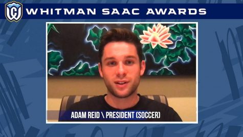 SAAC President Adam Reid hosts the virtual awards ceremony. Image courtesy of Whitman College Athletics.